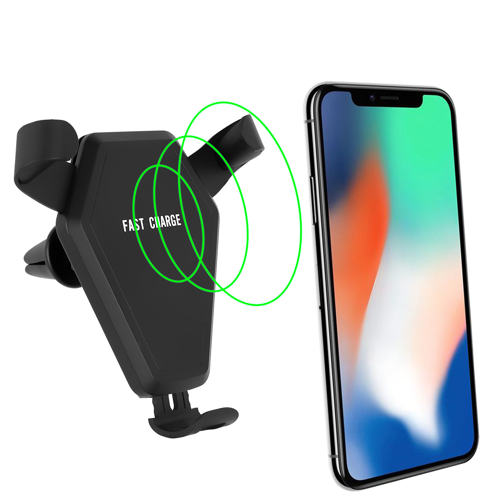 TSV Car Mount Qi Wireless Charger Fast Charging Air Vent Holder For Samsung iPhone X