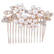 Lux Accessories Rose Goldtone Rhinestone Faux Pearl Flower Leaf Hair Comb