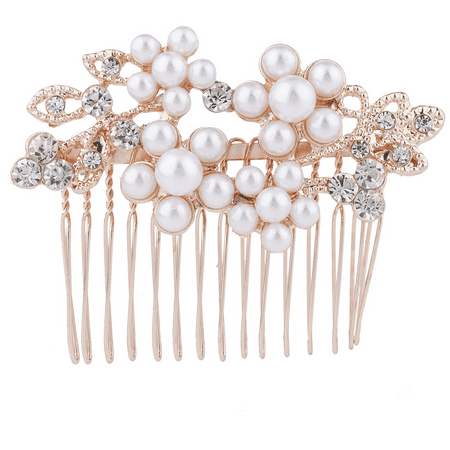 Leaf Comb - Lux Accessories Rose Goldtone Rhinestone Faux Pearl Flower Leaf Hair Comb