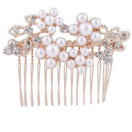 Leaf Comb - Lux Accessories Rose Goldtone Rhinestone Faux Pearl Flower Leaf Hair Comb