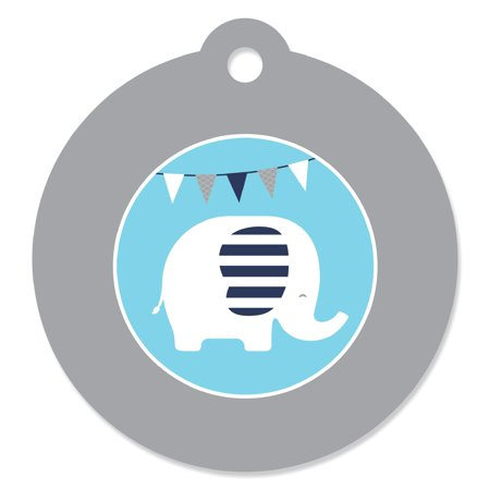 Blue Elephant - Boy Baby Shower or Birthday Party Favor Gift Tags (Set of 20)