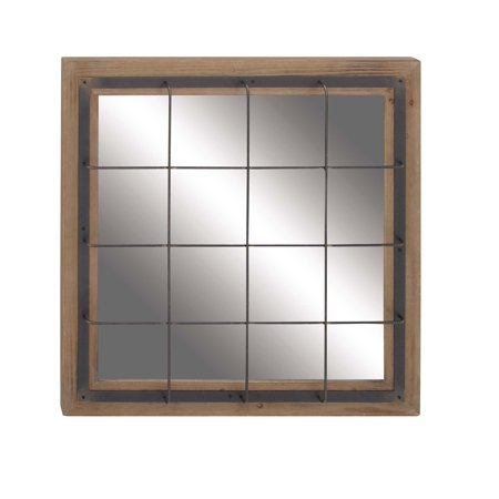Decmode Contemporary Square Metal And Wood Grid-Patterned Wall Mirror, Brown - Graff Contemporary Square Wall