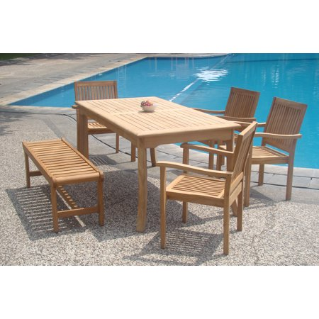 set 6 seater 6 pc 71 rectangle table 4 stacking arm leveb chairs