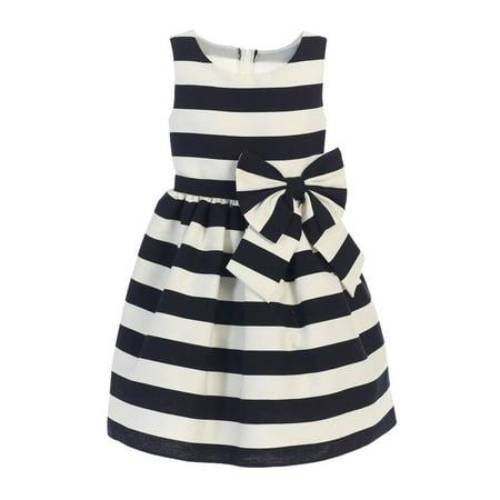 Sweet Kids Little Girls Black White Stripe Ribbon Accent Occasion Dress 4](Black And White Girls Dress)