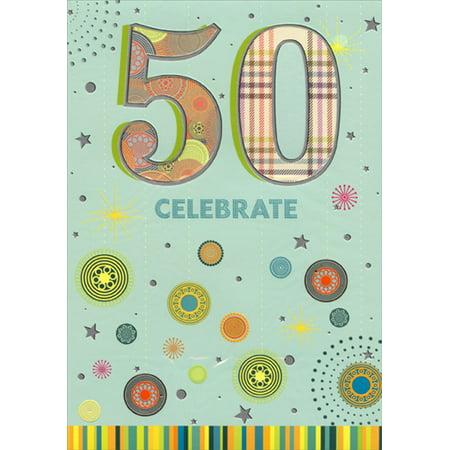 - Designer Greetings Plaid and Circle Patterns in Die Cut Windows Age 50 / 50th Birthday Card