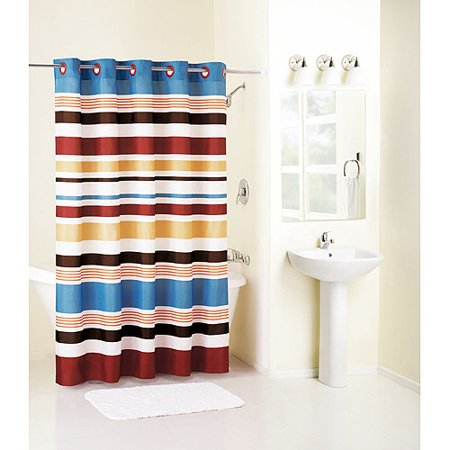 Mainstays Hookless Century Stripe Fabric Shower Curtain