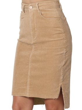 2e9ddd752 Product Image TheMogan Junior's Slit Hi Low Raw Hem High Waist Stretch  Corduroy Pencil Skirt