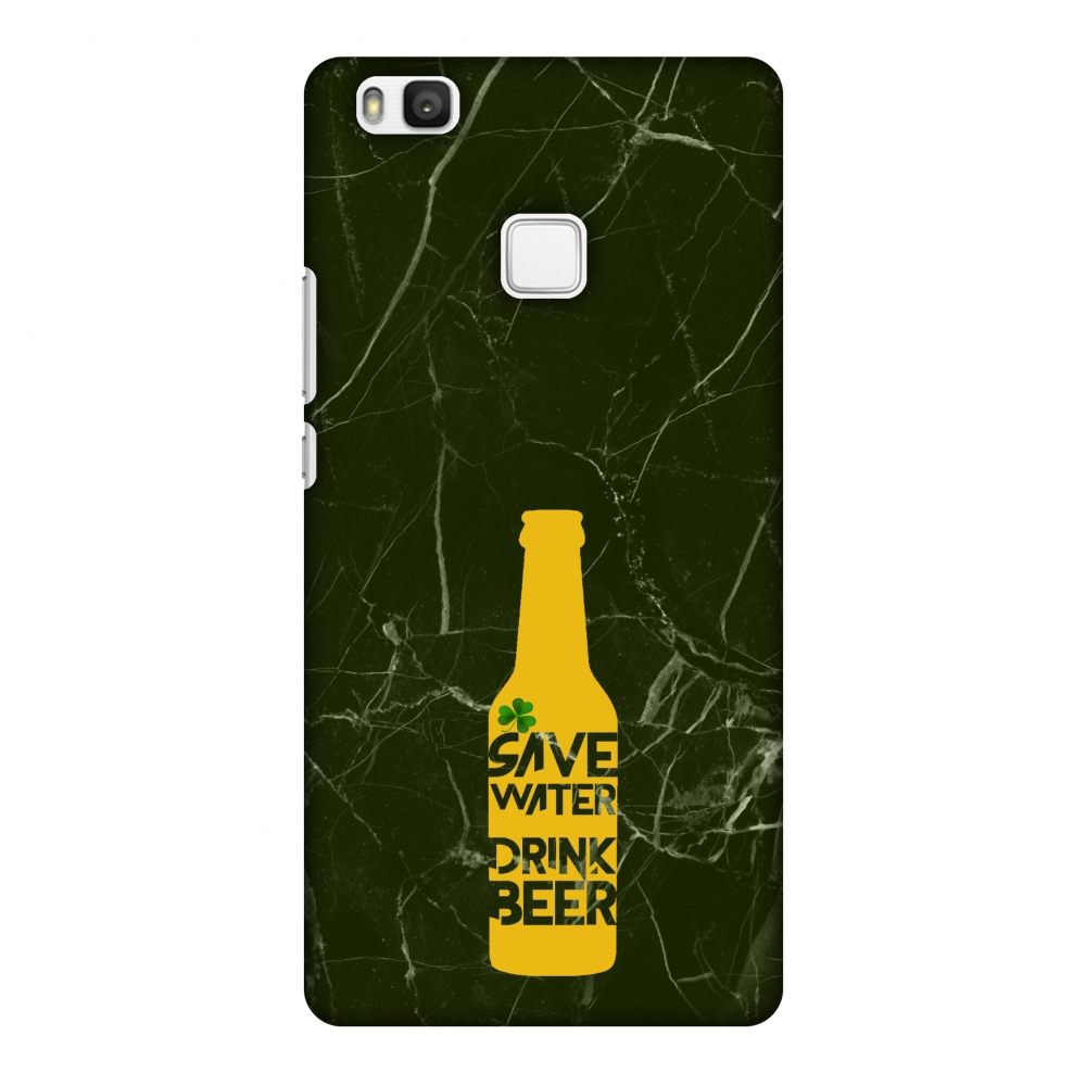 Huawei P9 Lite Case, Premium Handcrafted Printed Designer Hard Snap on Shell Case Back Cover for Huawei P9 Lite - Save Water Drink Beer - Green Marble