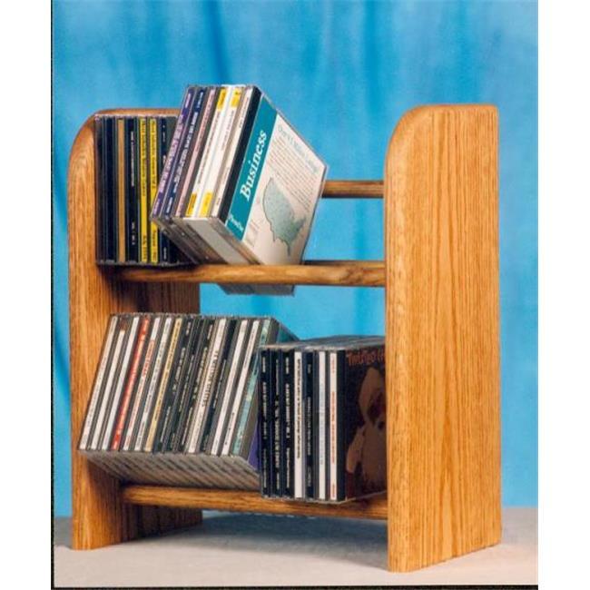 Wood Shed 204 Solid Oak 2 Row Dowel CD Rack