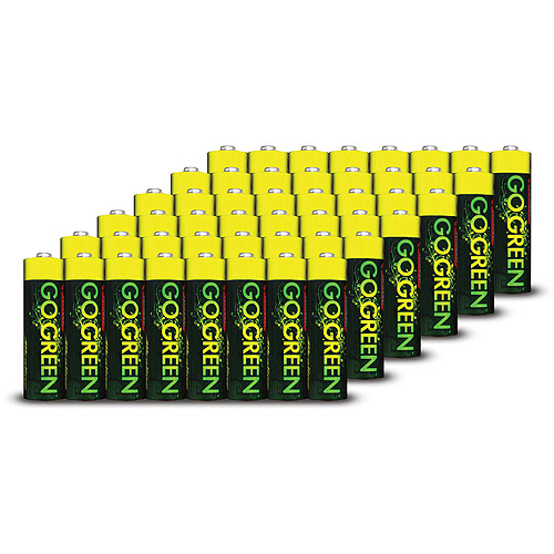 Go Green Alkaline Battery, AA, 48-Pack