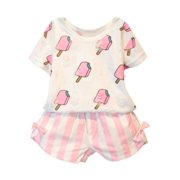 Toddler Kids Baby Girls Summer Clothes Set T-Shirt Tops+Shorts Pant Outfits