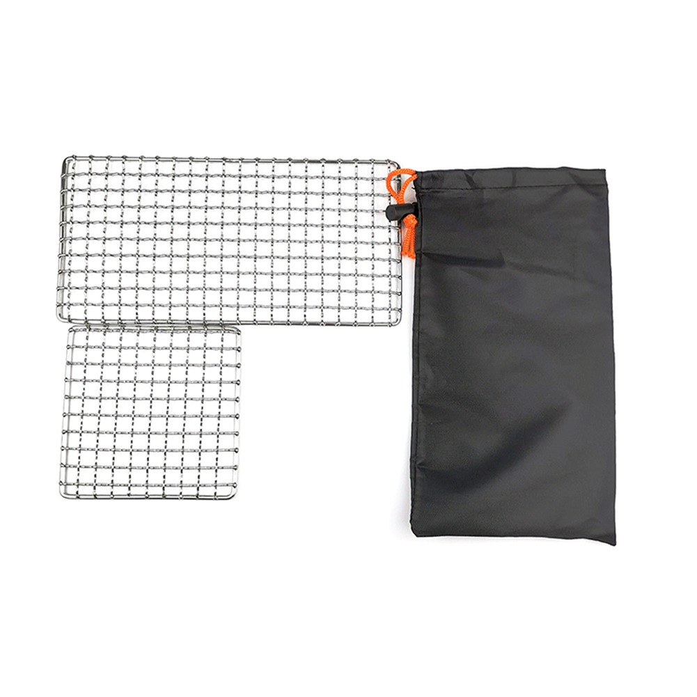 2 Packs BBQ Grill Mesh Mat Outdoor Camping Pot Rack Simple Firewood Grill