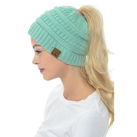 f22bb2f496e SENFLOCO - Women Beanie Hat Tail Knit Hat -Winter Warm Beanie Tail Soft  Stretch Cable Knit Messy High Bun Ponytail Beanie Hats for Women -  Walmart.com