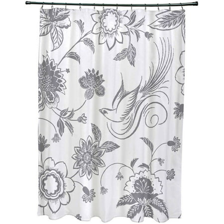 Simply Daisy 71 X 74 Traditional Bird Floral Print Shower Curtain