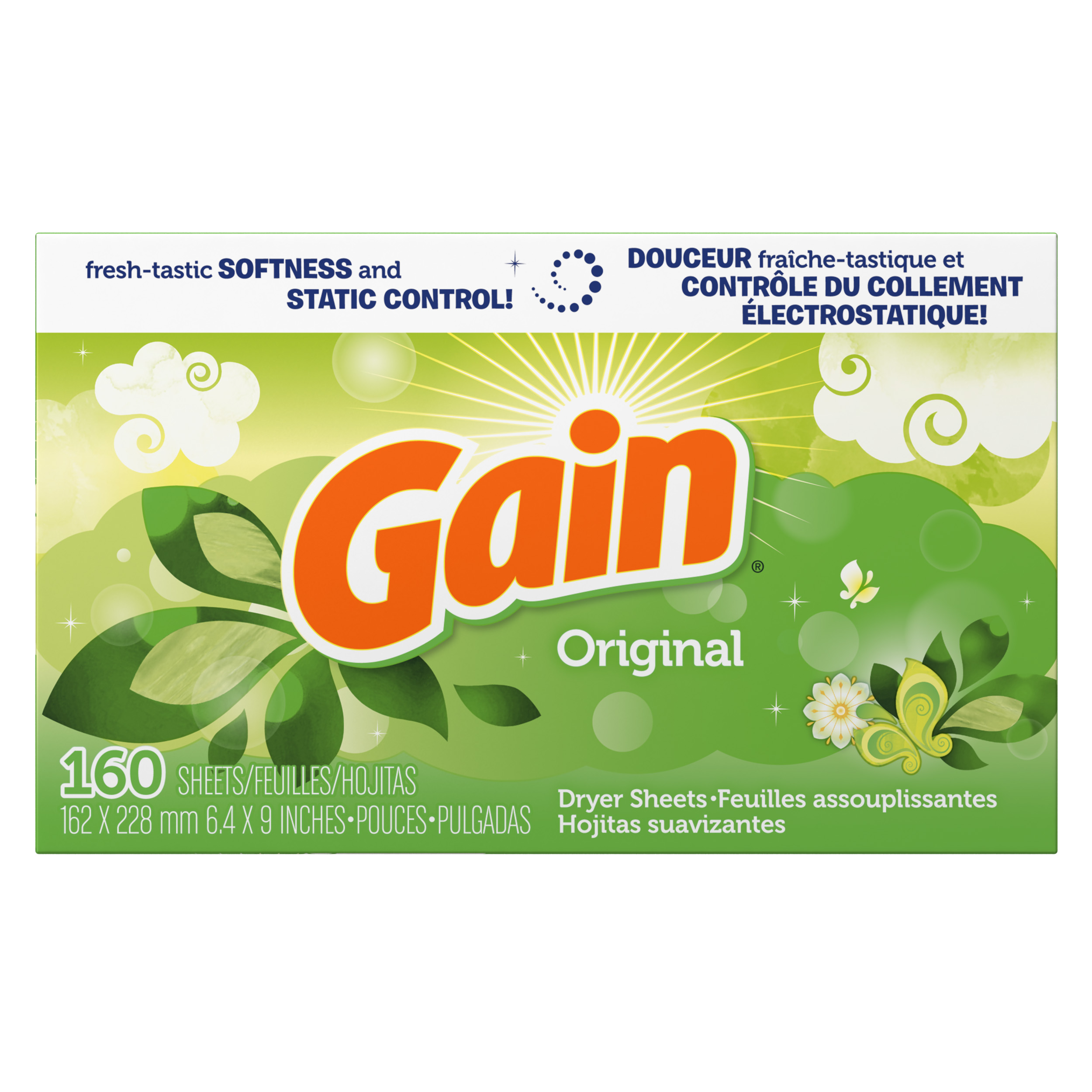 Gain Dryer Sheets, Original Scent, 160 count