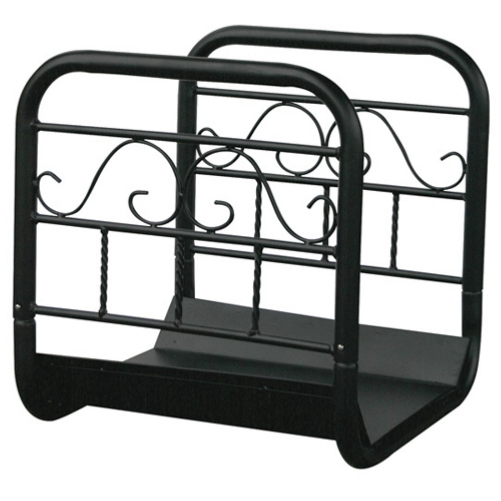 Uniflame Large Black Wrought Iron Log Rack with Wheel and Removable Cart