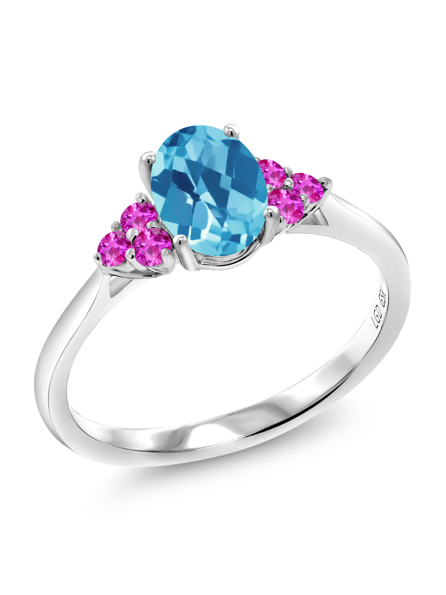 1.60 Ct Oval Checkerboard Swiss Blue Topaz Pink Sapphire 10K White Gold Ring by
