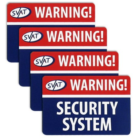 SVAT VU100-ST 4 Pack of Peel & Stick Crime Deterrent Window Warning Stickers with UV Fade Protection
