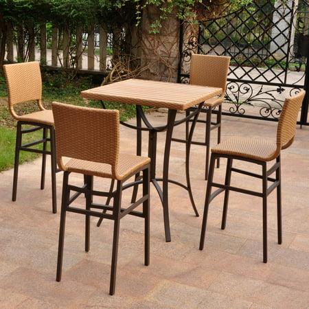 International Caravan Barcelona Resin Wicker 5 Pc  Bar Height Patio Dining Set