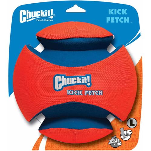 ChuckIt! Kick Fetch Ball Dog Toy Interactive Play Orange Blue Large 7.5 Inches by Petmate