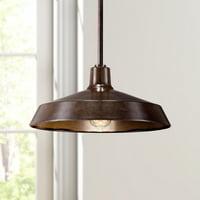"Franklin Iron Works Warm Bronze 15"" Wide Industrial Pendant Light"