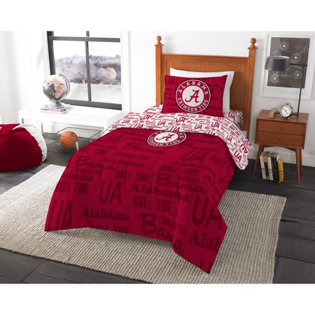 NCAA University of Alabama Crimson Tide Twin Bed in a Bag Complete Bedding Set](Alabama Crimson)