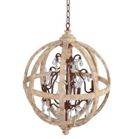 "Incadozo 33"" Wide Antique Brass and Wood Chandelier"