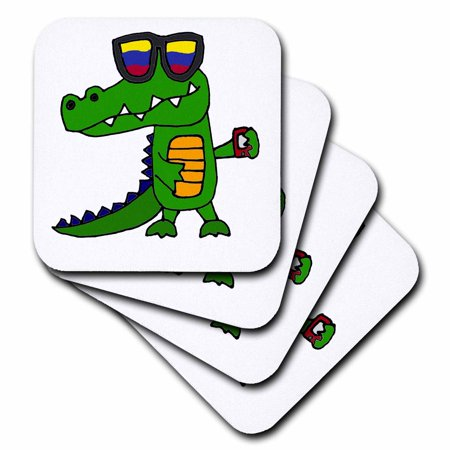 3dRose Funny Cool Alligator in Sunglasses with Cell Phone - Soft Coasters, set of 8](Funny Sunglasses)