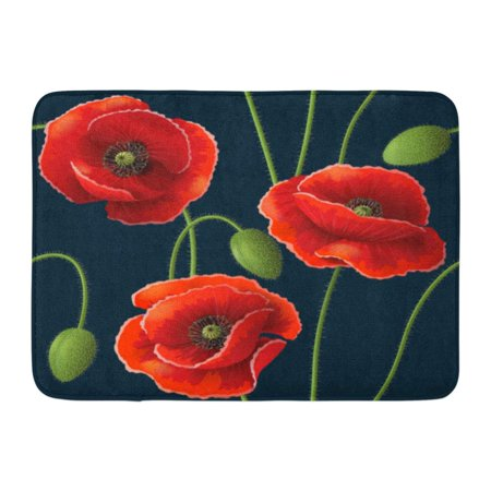 Red Bud Blossom (GODPOK Blooming Black Opium with Red Poppy Flowers and Buds on Dark Green Beauty Blossom Rug Doormat Bath Mat 23.6x15.7)