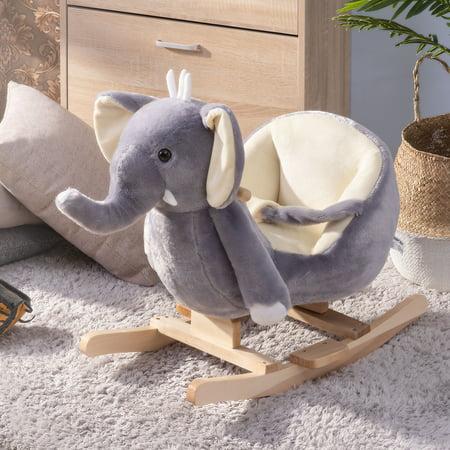 TKOOFN Rocking Horse Toy Ride-On Rocker Plush for Kids Stuffed Animal Rocker Toy Child Rocking Toy (Gray Elephant)