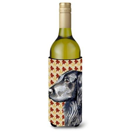 Flat Coated Retriever Fall Leaves Portrait Ultra Beverage Insulators for slim cans (White Flat Coated Retriever)