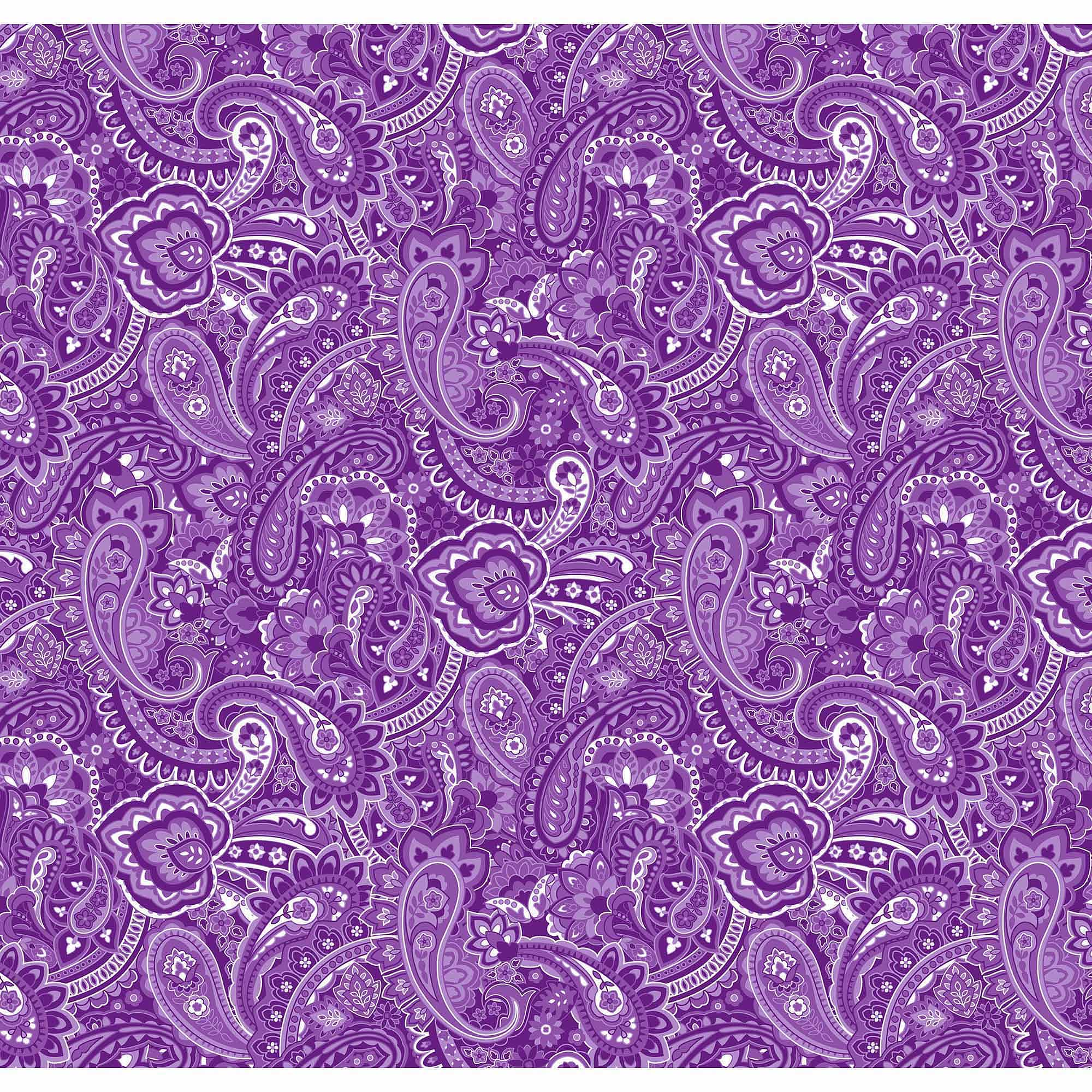 Springs Creative Cotton Blenders Gadabout Paisley, Purple, Fabric by the Yard