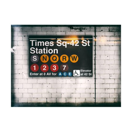 Subway Times Square - 42 Street Station - Subway Sign - Manhattan, New York City, USA Print Wall Art By Philippe