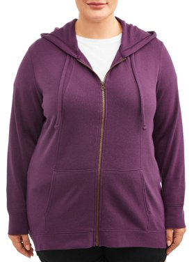 Terra & Sky Women's Plus Size Athleisure Zip Up Fleece Hoodie