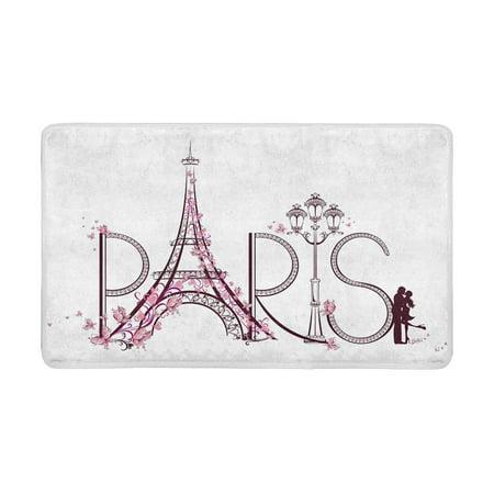 MKHERT Eiffel Tower with Paris Lettering Couple Trip Flowers Floral Design Doormat Rug Home Decor Floor Mat Bath Mat 30x18 (Mat Design)