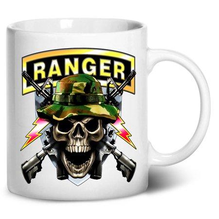 (Tenacitee Army Ranger Skull Coffee Mug, 11oz, White)