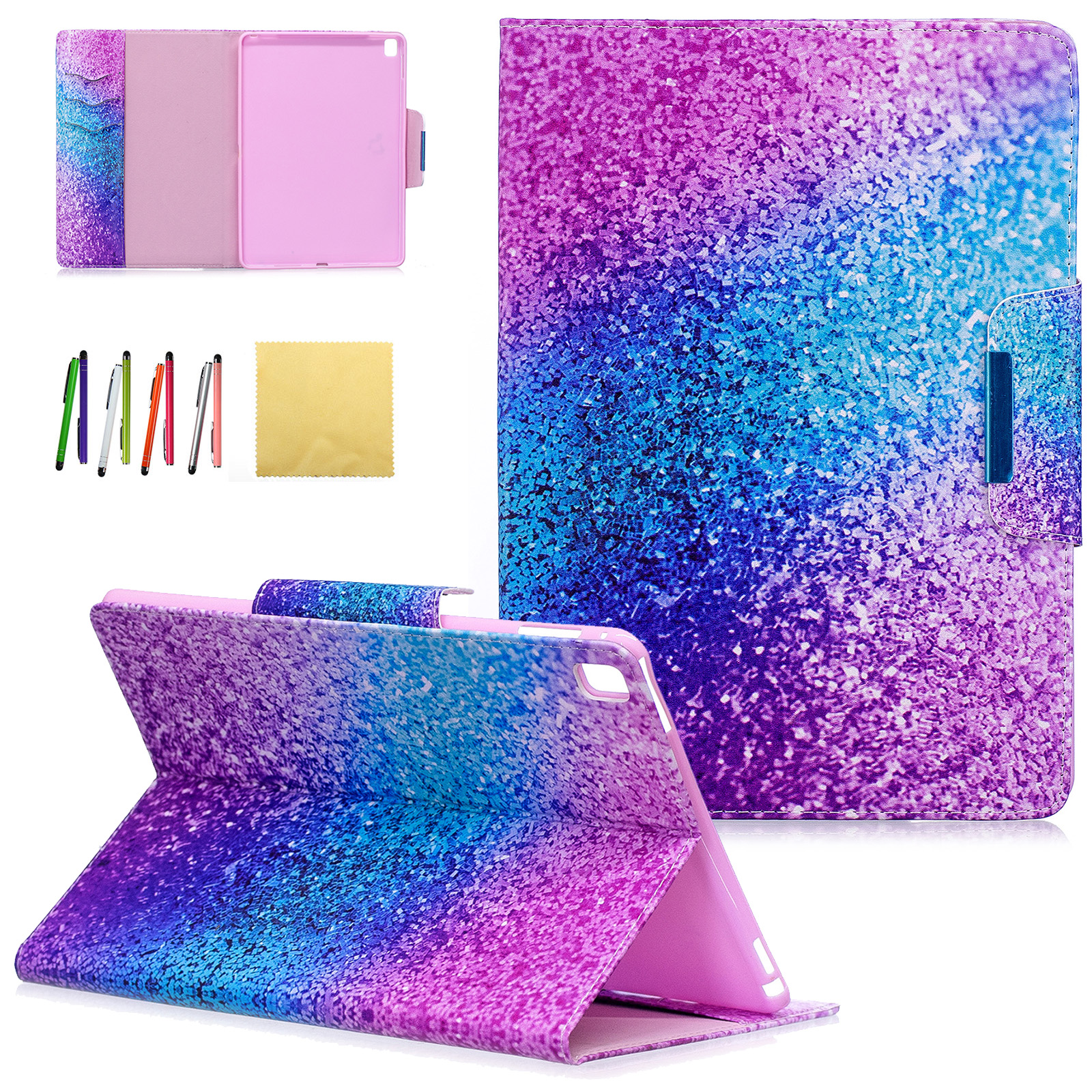 iPad Pro 9.7 Kids Case, Goodest Colorful PU Leather Stand Wallet Case Covers with Auto Sleep/Wake Function & Card Slots for Apple iPad Pro 9.7 inch 2016 Model, Colorful Sand