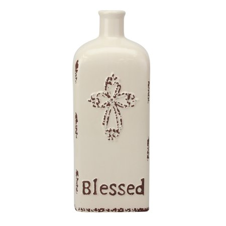 """Stonebriar Decorative 12"""" Worn White Ceramic Bottle with Cross Detail, French Country Home Decor Accents, Vintage Vase Decoration for Dried or Artificial Flowers (Country Home Accents)"""