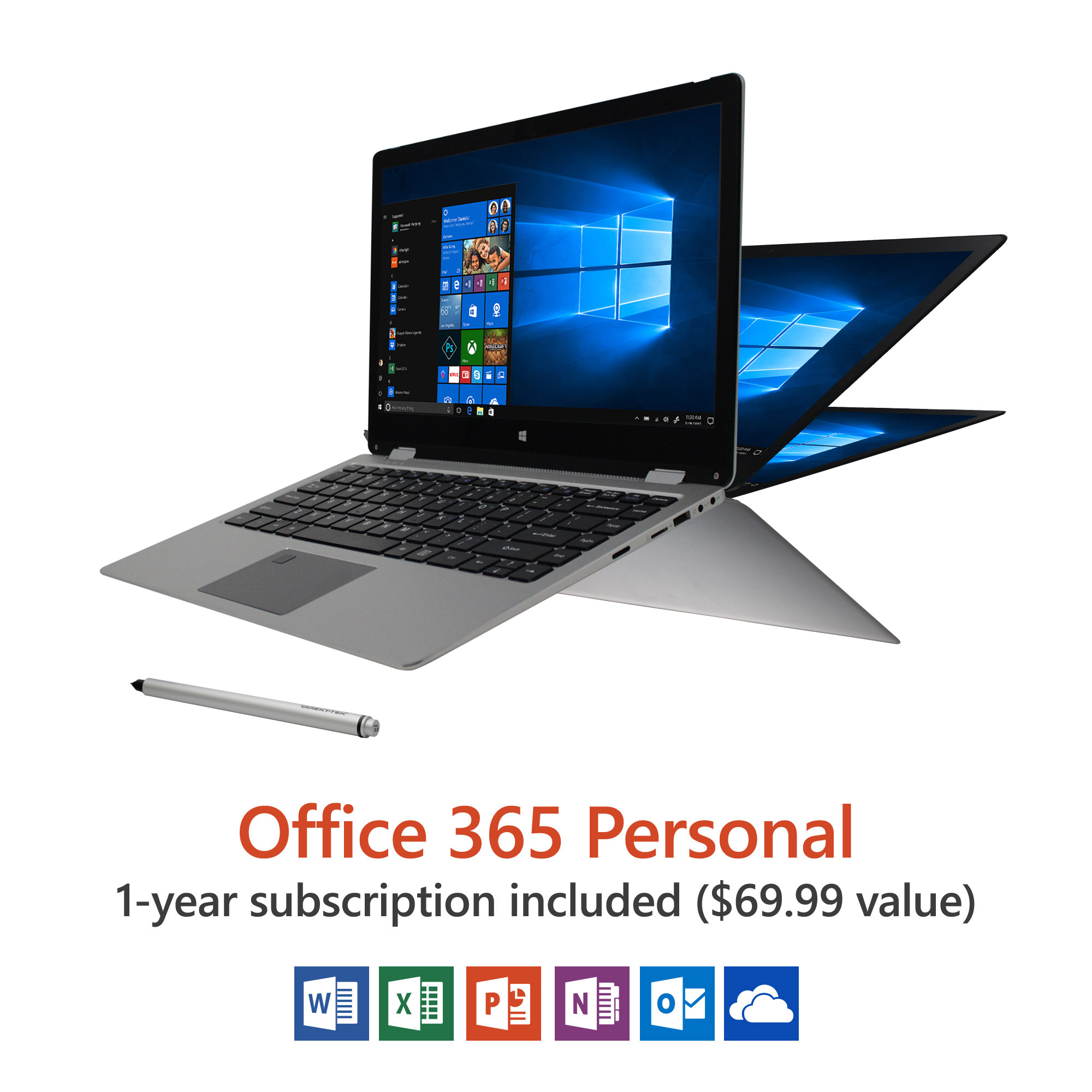 "13.3"" Convertible Touchscreen Laptop, Windows 10 Home, Office 365 Personal 1-Year Subscription Included ($69.99 Value), Windows Hello (Fingerprint Reader), Windows Ink (Smart Stylus included)"