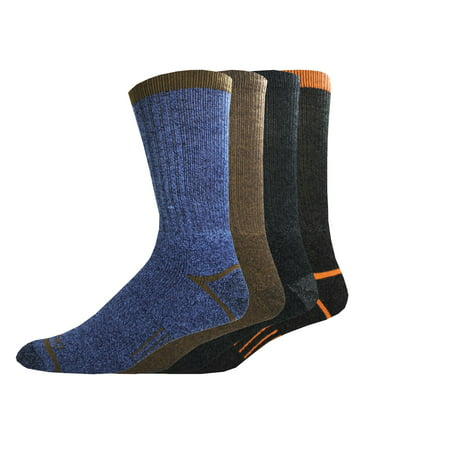 Genuine Dickies Men's Regenerated Cotton Blend Work Crew Socks, 4-Pack Cotton Blend Dress Socks