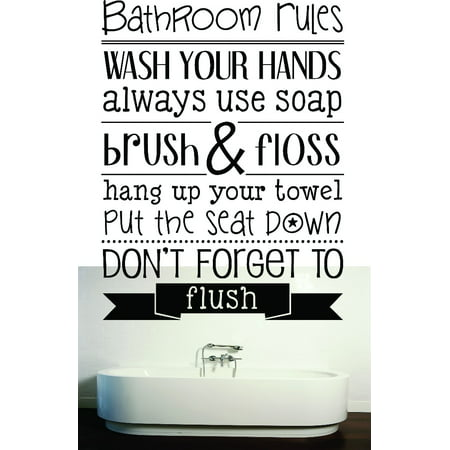 Do It Yourself Wall Decal Sticker Bathroom Rules Wash Your Hands Use Soap Brush