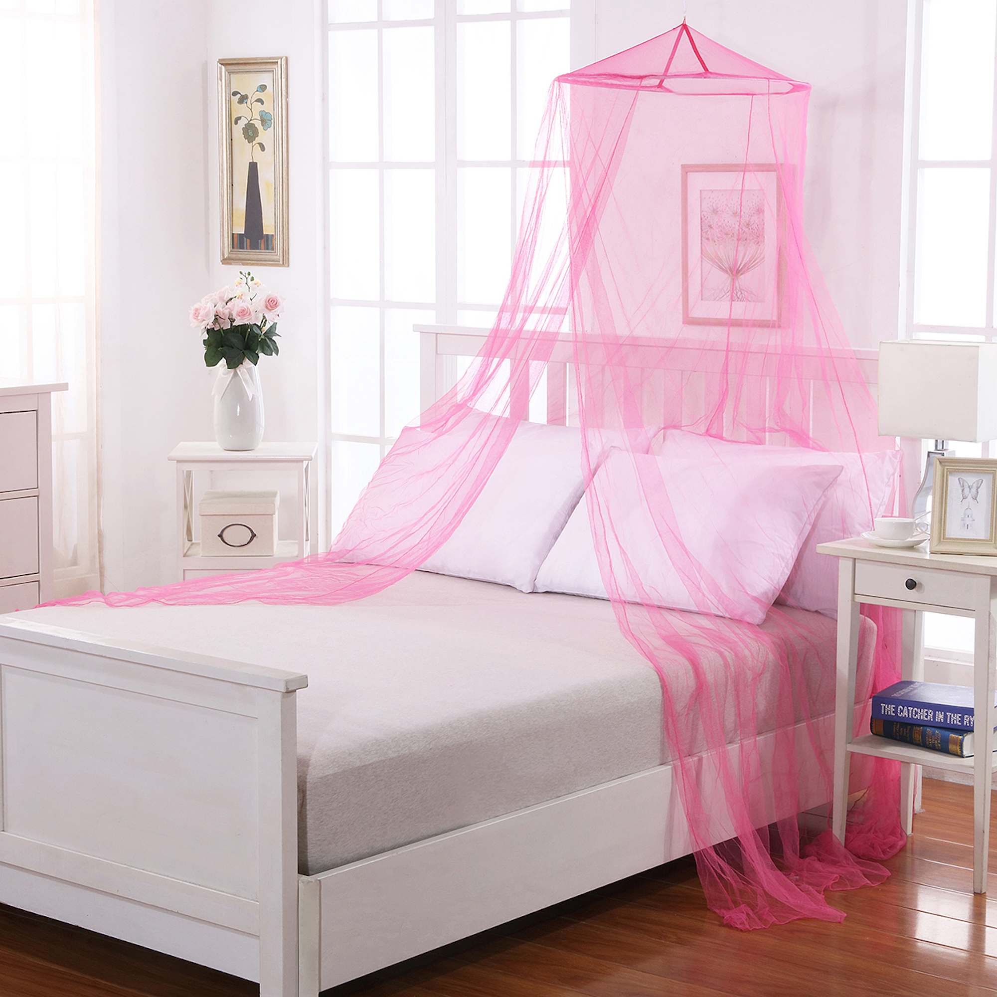 Kids Round Collapsible Wire Hoop Mosquito Net Bed Canopy & Kids Round Collapsible Wire Hoop Mosquito Net Bed Canopy - Walmart.com