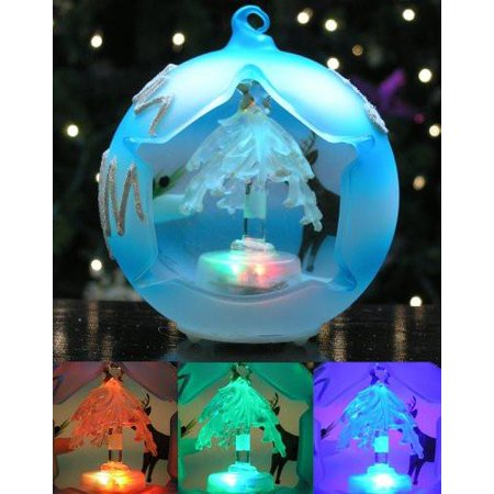 LED Glass Globe Christmas Tree Ornament Frosted Blue Ball (Globe Ornament)
