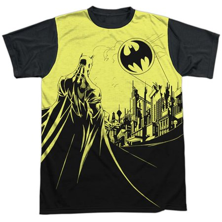 Batman & Bat Signal-Short Sleeve Adult White Front Black Back T-Shirt, White - 3X - image 1 of 1