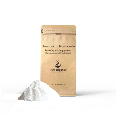 Ammonium Bicarbonate (Bakers Ammonia) (Food Grade) (1 lb (16 oz)) (Eco-Friendly Packaging) (Multiple sizes)