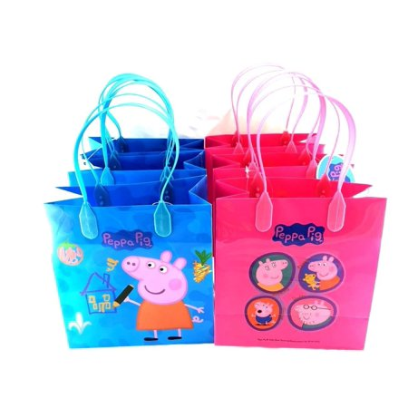 Party Favor Goody Tote Candy Bag Great Child Birthday Gift, 12 Piece, Peppa Pig character authentic licensed bags By Peppa Pig