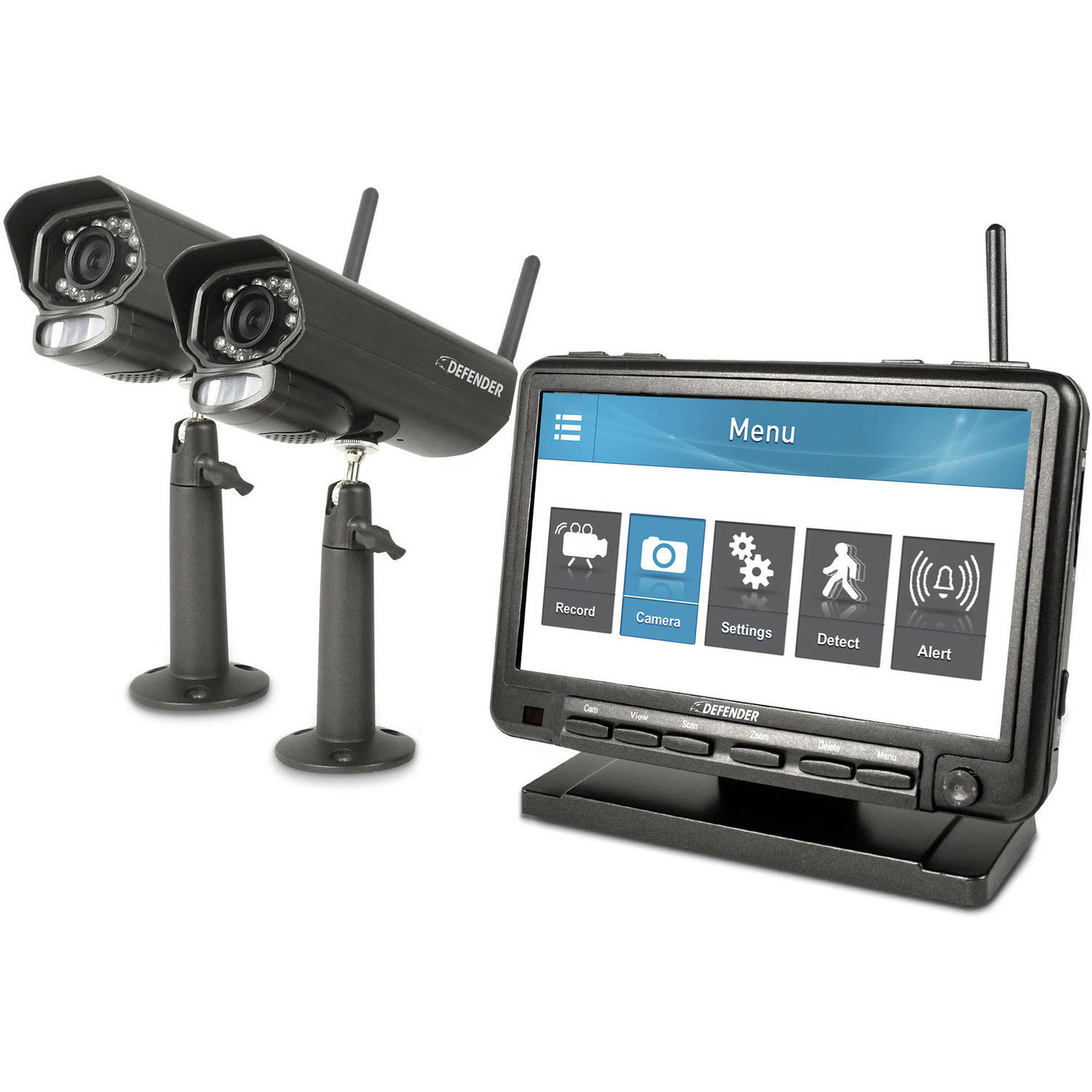 "Defender PhoenixM2 Digital Wireless 7"" Monitor DVR Security System with 2 Long-Range Night Vision Cameras and SD Card Recording"