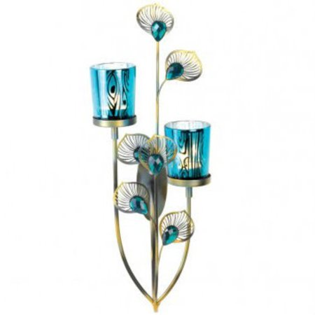 Peacock Feathers Candle Wall Sconce - Walmart.com