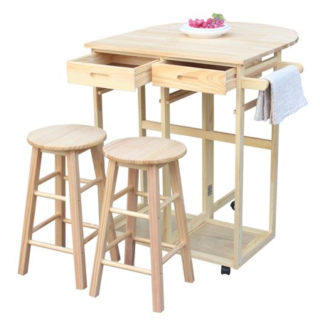 Ktaxon Wood Rolling Kitchen Island Cart 3pcs Fold Table 2 Drawers With 2 Stools