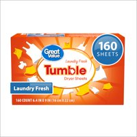 Great Value Tumble Fabric Softener Dryer Sheets, Fresh Air Clean, 160 Count (Packaging May Vary)